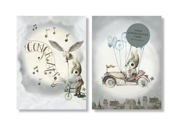 Mrs Mighetto - Flying Cars Congratulations Cards (2 pack)