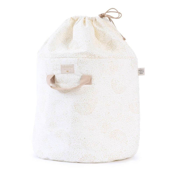 Nobodinoz Bamboo Toy Bag in Gold Bubble / White