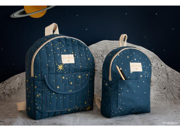 Nobodinoz Cool Kid Backpack in Gold Stella / Night Blue (Small)