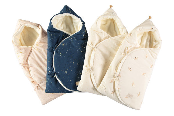 Nobodinoz Cosy Baby Nest Wrap/Bag in Honey/Sweet Dots
