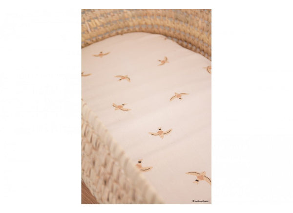Nobodinoz Melody Fitted Sheet Haiku Birds (Crib/Snuzpod Size)