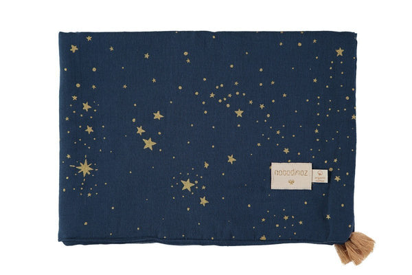 Nobodinoz Treasure Summer Blanket - Gold Stella/Midnight Blue