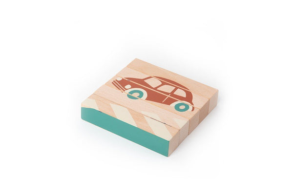 Nobodinoz Wooden Cubes Vehicles Puzzle