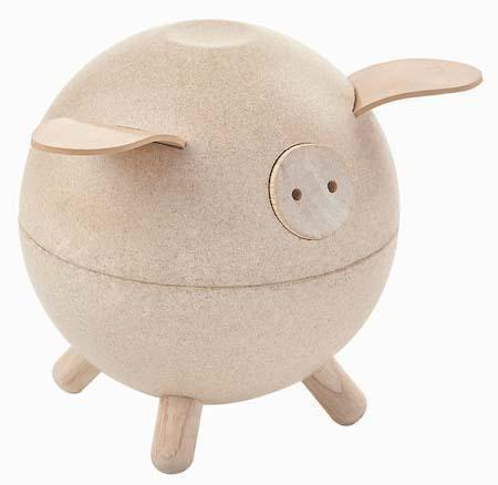 Plan Toys Piggy Bank in White/Natural