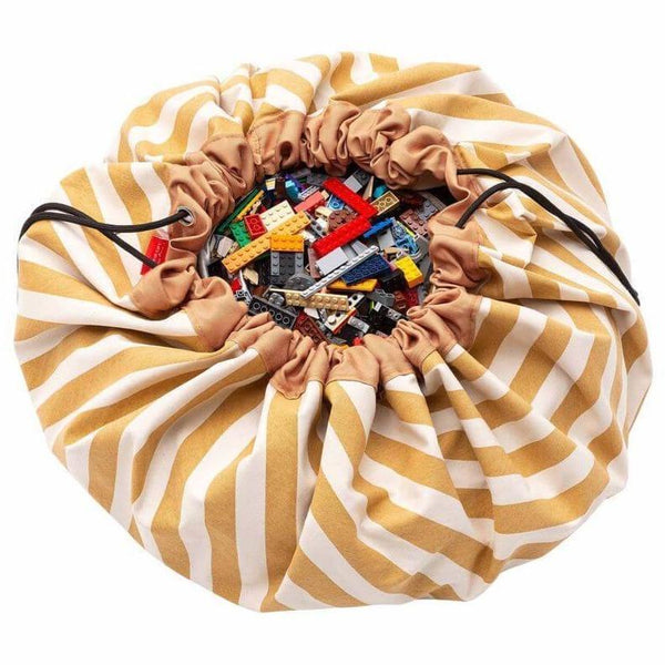 Play and Go Toy Bag - Mustard Stripes