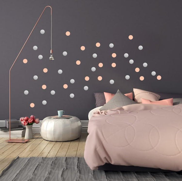 Pom Le Bon Homme Dotty wall transfers in pink and silver