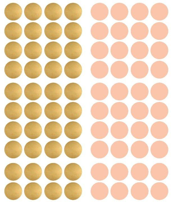 Pom Le Bon Homme Dotty wall transfers in Rose pink and gold