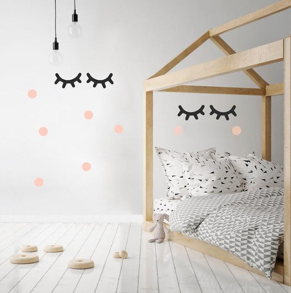 Pom Le Bon Homme Sleepy Eyes wall transfers in Black and Pink (Large)