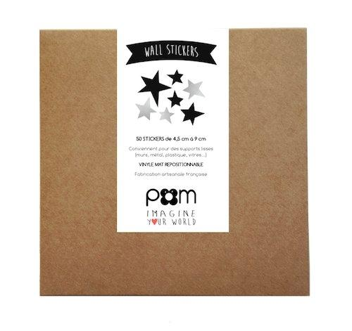 Pom Le Bon Homme Star wall transfers in black and silver