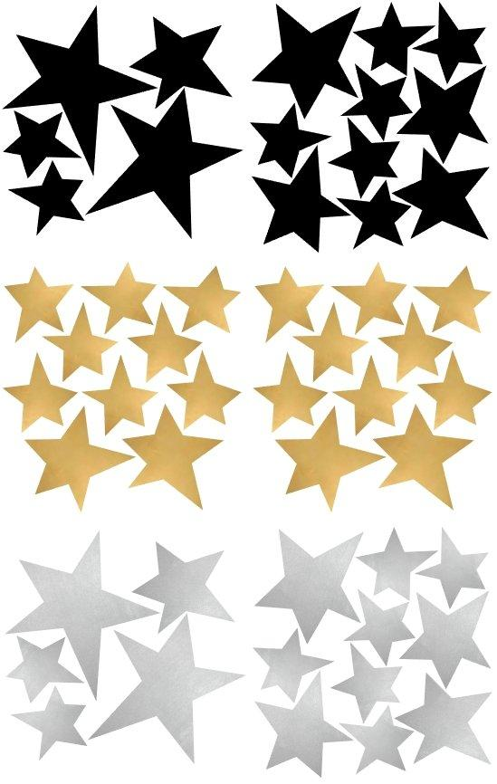 Pom Le Bon Homme Star Wall Transfers in Black, Gold and Silver
