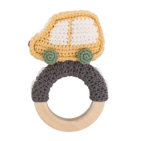 Sebra crochet rattle Car