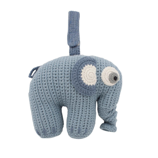 Sebra Fanto the Elephant Musical Pull Toy in Powder Blue