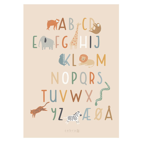 Sebra Poster Wildlife Danish Alphabet