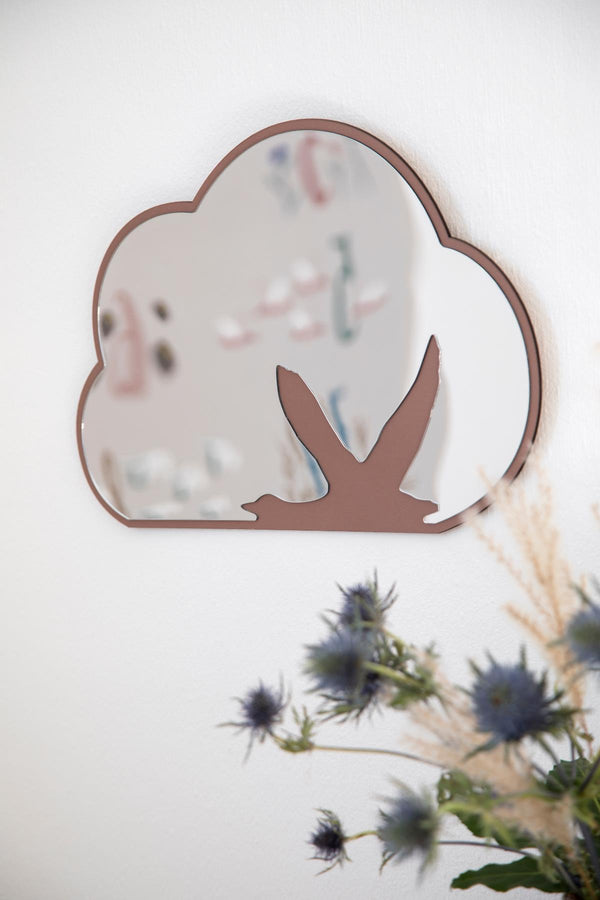 Sebra Wooden Mirror with Bird