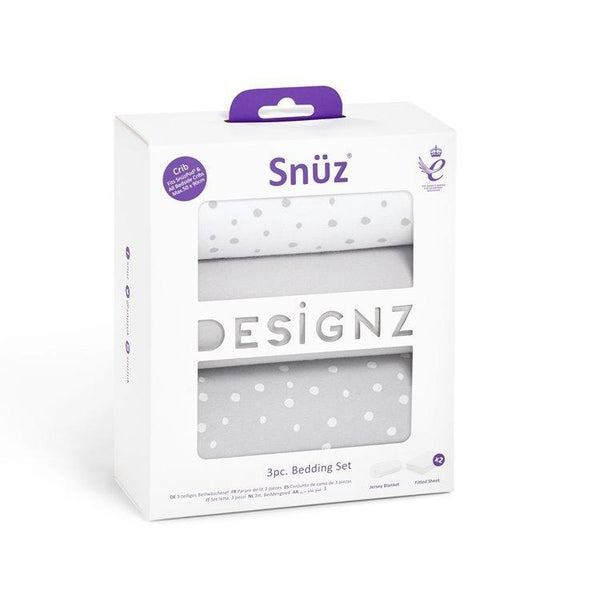 Snüz 3 Piece Crib Bedding Set in Grey Spots
