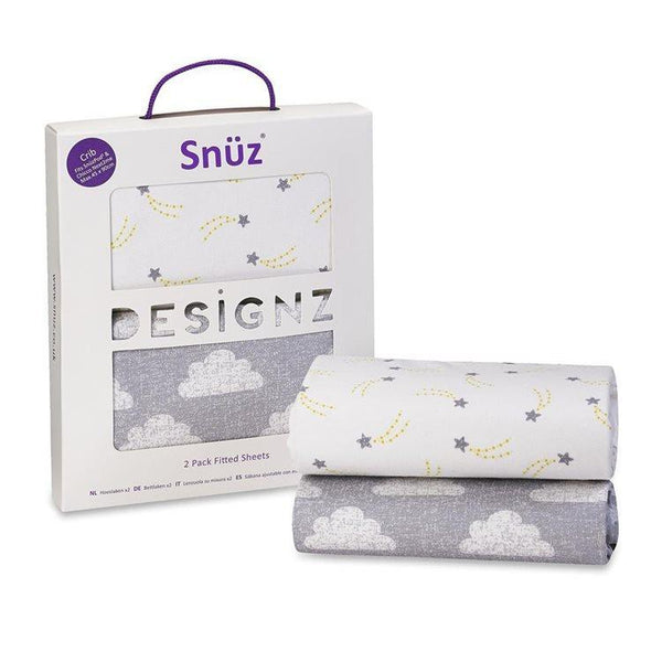 Snuz Designz Twin pack fitted sheets in Cloud Nine - Crib Size