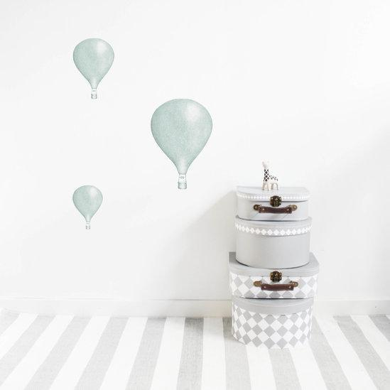 Stickstay Three Balloons wall transfers in Mint Green