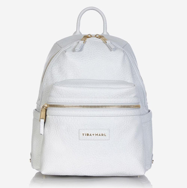 Tiba and Marl Miller Backpack in Pale Grey Tumbled Leather