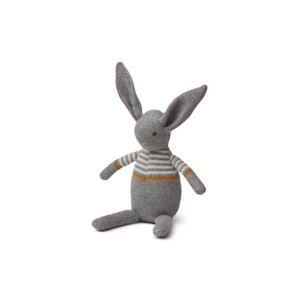 Liewood Vigga knit mini teddy/rattle - Rabbit grey - scandibornusa