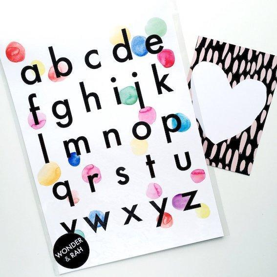 Wonder and Rah Confetti Alphabet Print