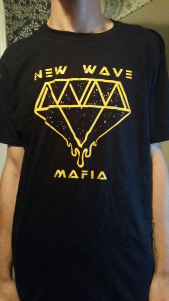 Short sleeve black & gold diamond