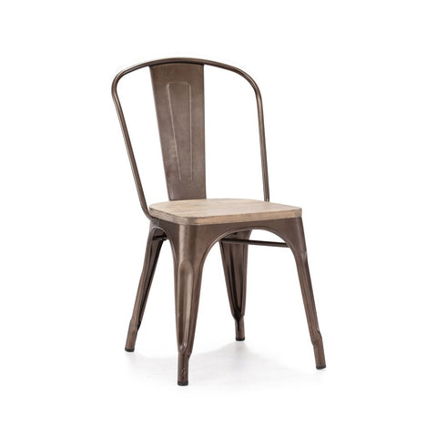 Dreux Rustic Matte Light Elm Wood Stackable Side Chair (Set of 4)