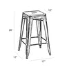 Dreux Vintage Matte Black Gold Stackable Counter Stool 26 Inch (Set of 4)