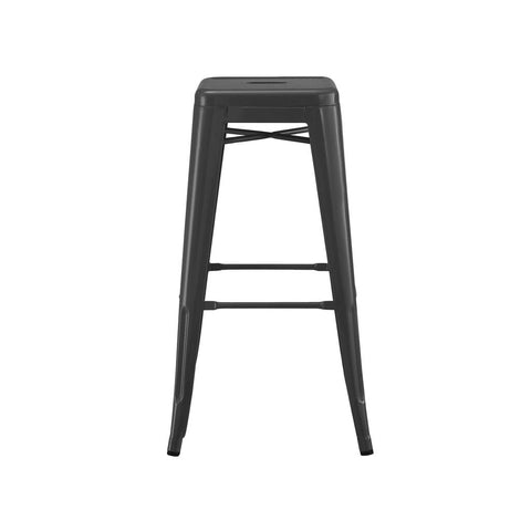 Dreux Matte Black Steel Stackable Barstool 30 Inch (Set of 4)
