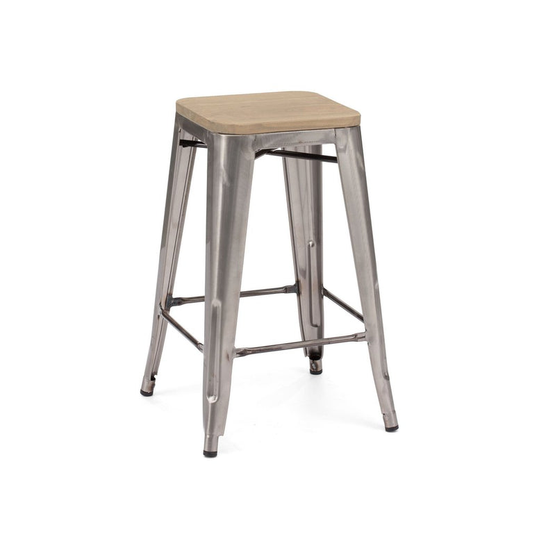 Dreux Gunmetal Light Elm Wood Stackable Counter Stool 26 Inch (Set of 4)