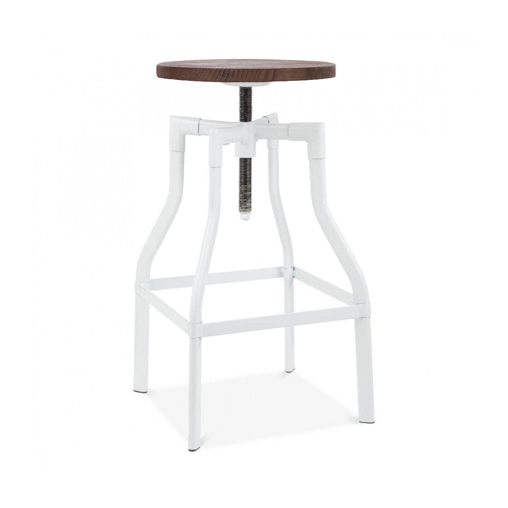 Machinist White Wood Adjustable Barstool 26   32 Inch