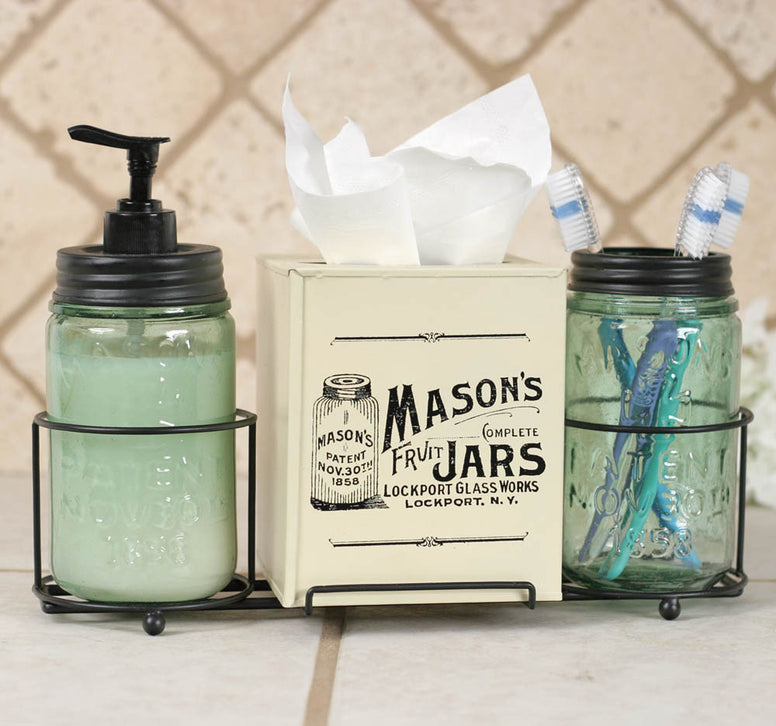 Mason Jar Bathroom Caddy with Mason Jars and Tissue Box Cover