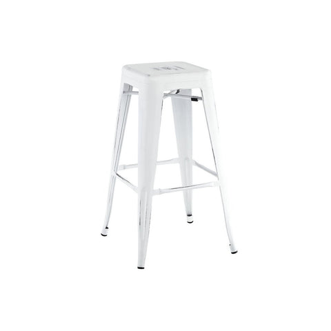 Dreux Vintage Matte White Black Steel Stackable Barstool 30 Inch (Set of 4)