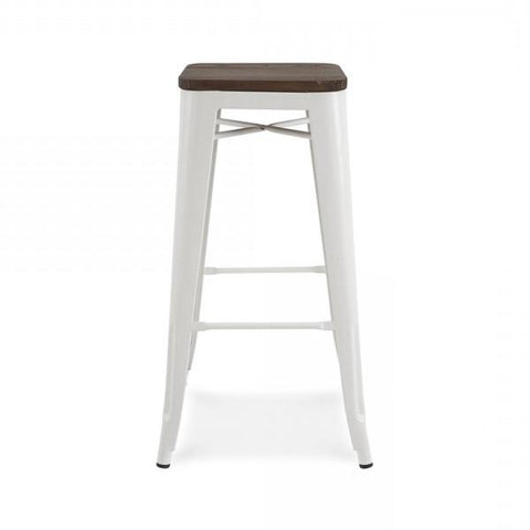 Dreux Glossy White Elm Wood Steel Stackable Barstool 30 Inch (Set of 4)