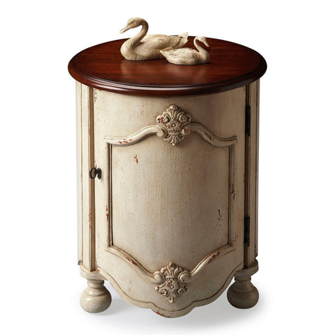 Kenwood Accent Table in Vanilla with Cherry Wood Top