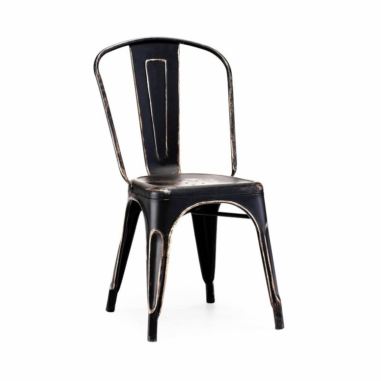 Dreux Vintage Matte Black Gold Stackable Side Chair (Set of 4)