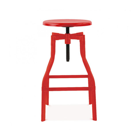 Machinist Glossy Red Adjustable Barstool 26 - 32 Inch