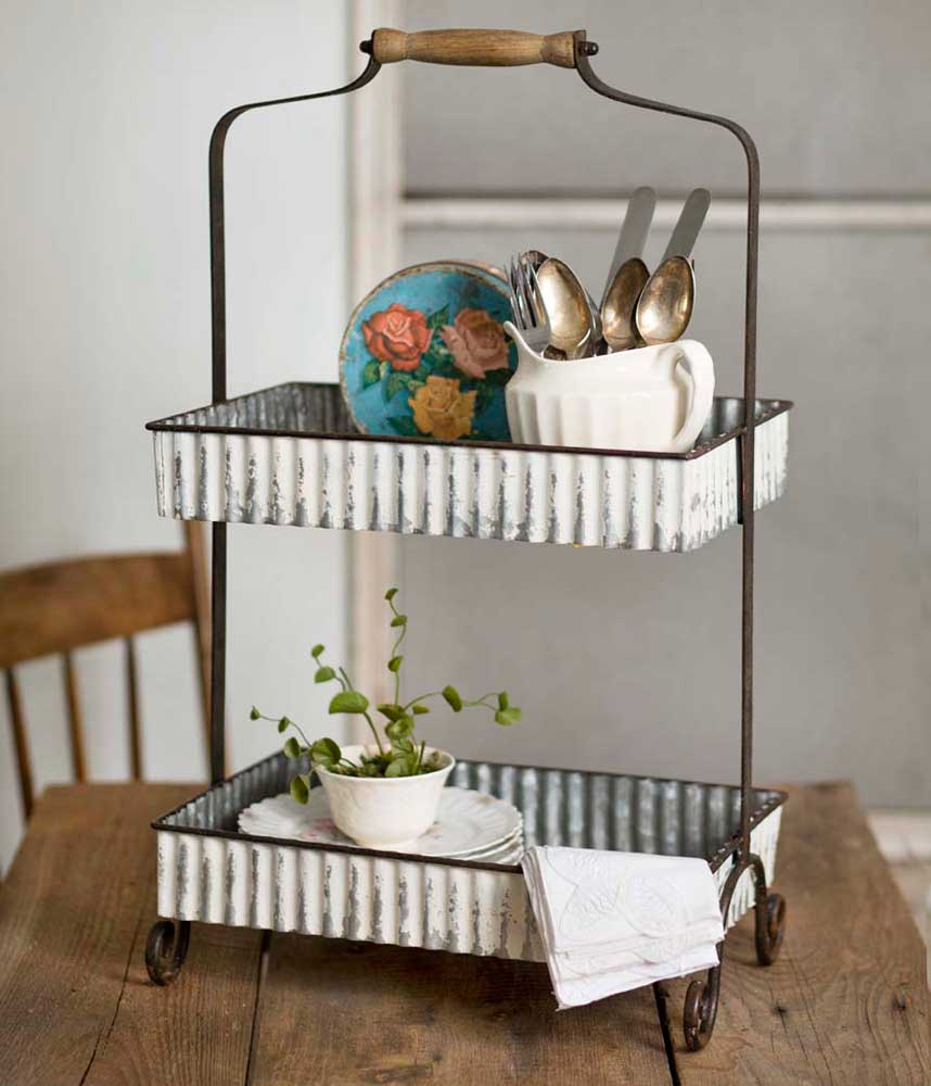 Charmant Whitewash Corrugated Two Tier Tabletop Caddy