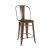 Dreux Rustic Matte Elm Wood Counter Chair 26 Inch (Set of 4)