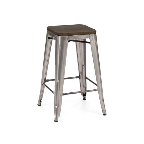 Dreux Gunmetal Elm Wood Steel Stackable Counter Stool 26 Inch (Set of 4)