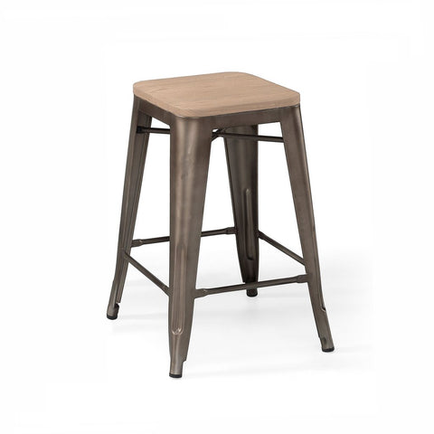 Dreux Rustic Matte Light Elm Wood Stackable Counter Stool 26 Inch (Set of 4)