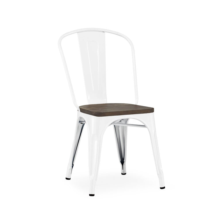 Dreux Glossy White Elm Wood Stackable Side Chair (Set of 4)