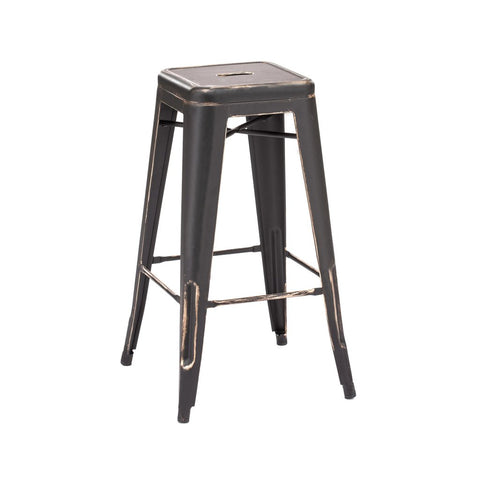 Dreux Vintage Matte Black Gold Steel Stackable Barstool 30 Inch (Set of 4)