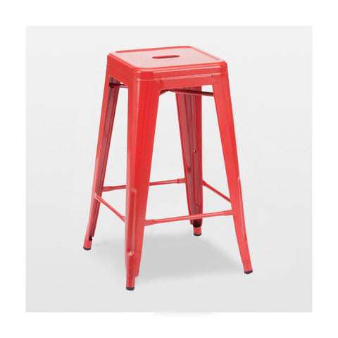Dreux Glossy Red Steel Stackable Counter Stool 26 Inch (Set of 4)