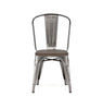Dreux Gunmetal Elm Wood Steel Stackable Side Chair (Set of 4)