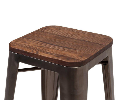 Dreux Rustic Matte Elm Wood Stackable Counter Stool 26 Inch (Set of 4)