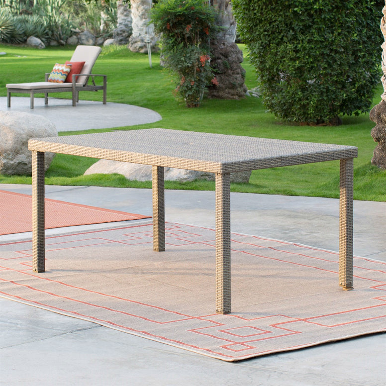 Weather Resistant Resin Wicker Patio Dining Table 63-inch with Steel Frame
