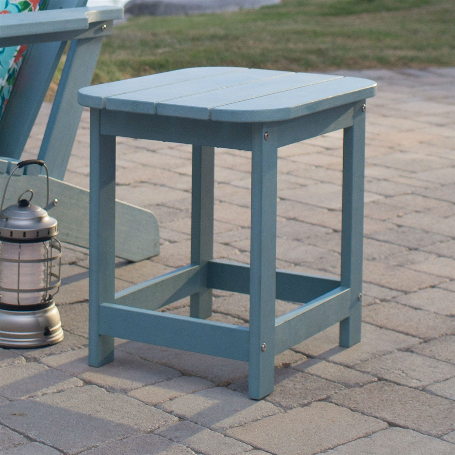 Outdoor Deck Patio Side Table In Blue Green Resin Wood Look Finish