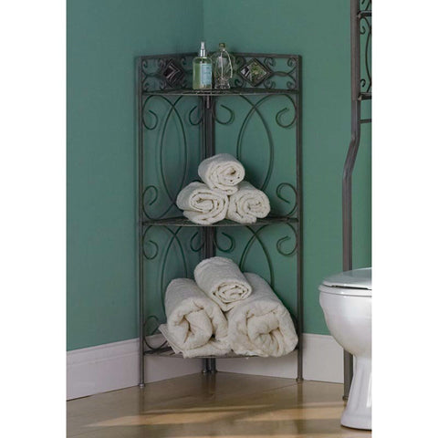 Corner Bathroom Linen Rack with 3 Shelves in Pewter Metal Finish