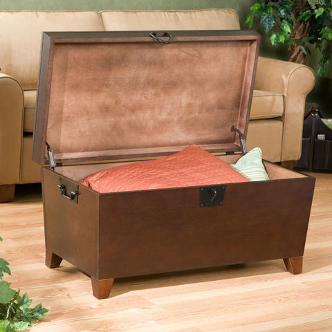 Lift-Top Trunk-Style Coffee Table in Espresso Finish