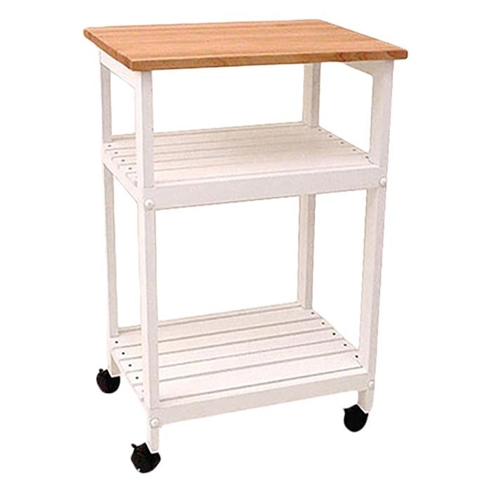 White Kitchen Microwave Cart With Butcher Block Top U0026 Locking Casters